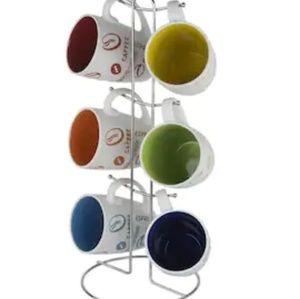 Single-serve mug set of 6 with stand